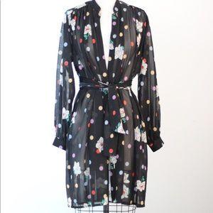 Vtg Blk Sheer Floral Dot Tie Waist Cover Top  S/M